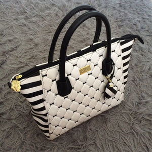 Betsey Johnson Large Black & White Stripe Zip Tote